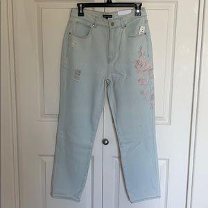 Pink floral denim mom jeans